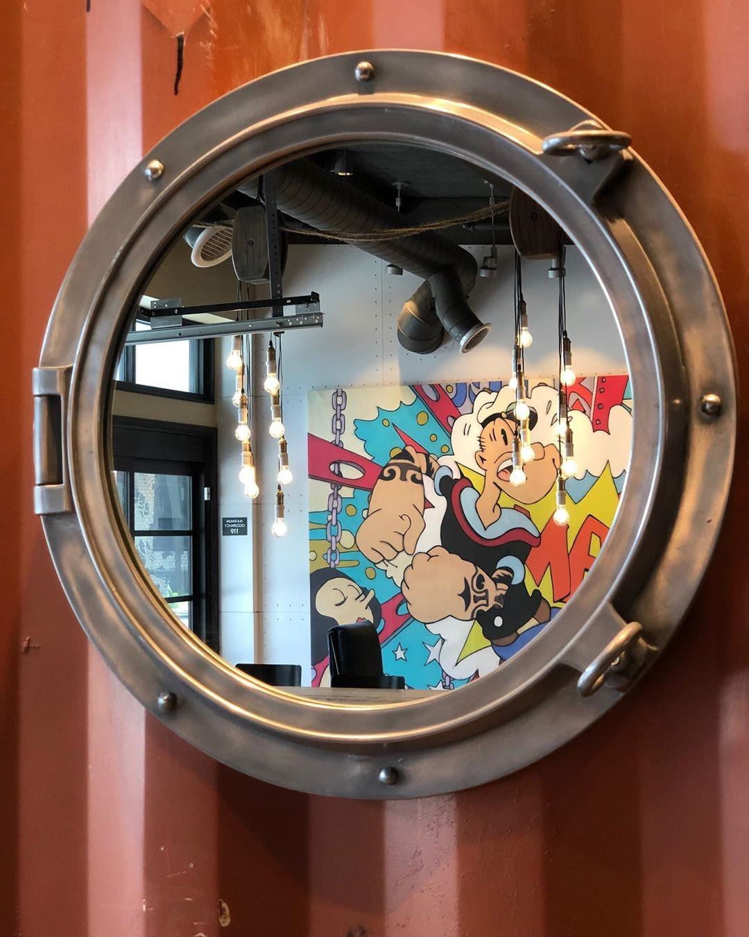 Eye spy the sailor man with the spinach can! #popeyethesailorman #hotelzephyrsf #porthole #eyespy #hotelzephyr